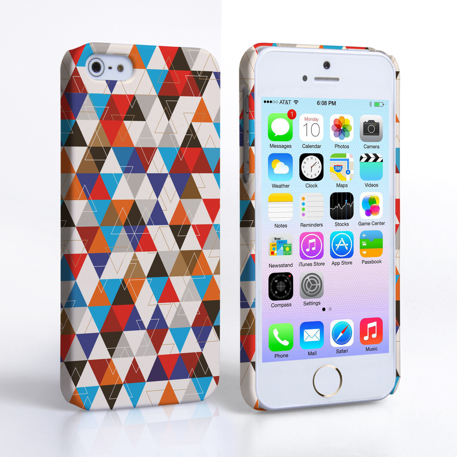 Caseflex iPhone 5 / 5S Triangles Pattern Hard Case - Blue and Red