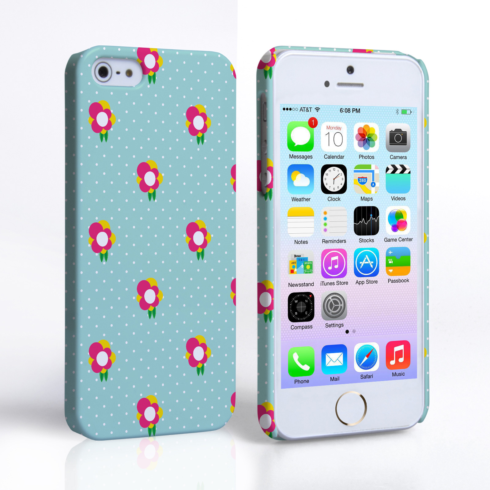 Caseflex iPhone 5 / 5S Grey and Pink Dainty Dots and Flowers Hard Case