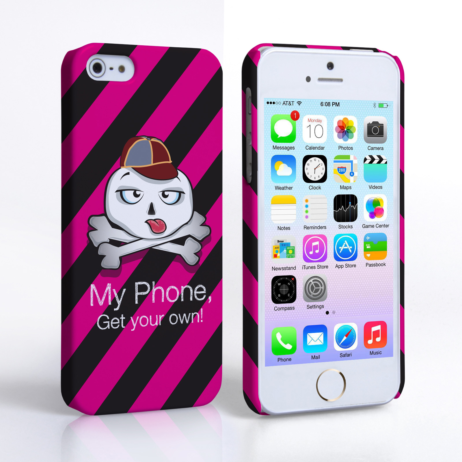 Caseflex iPhone 5 / 5S Striped Cartoon Skull Hard Case