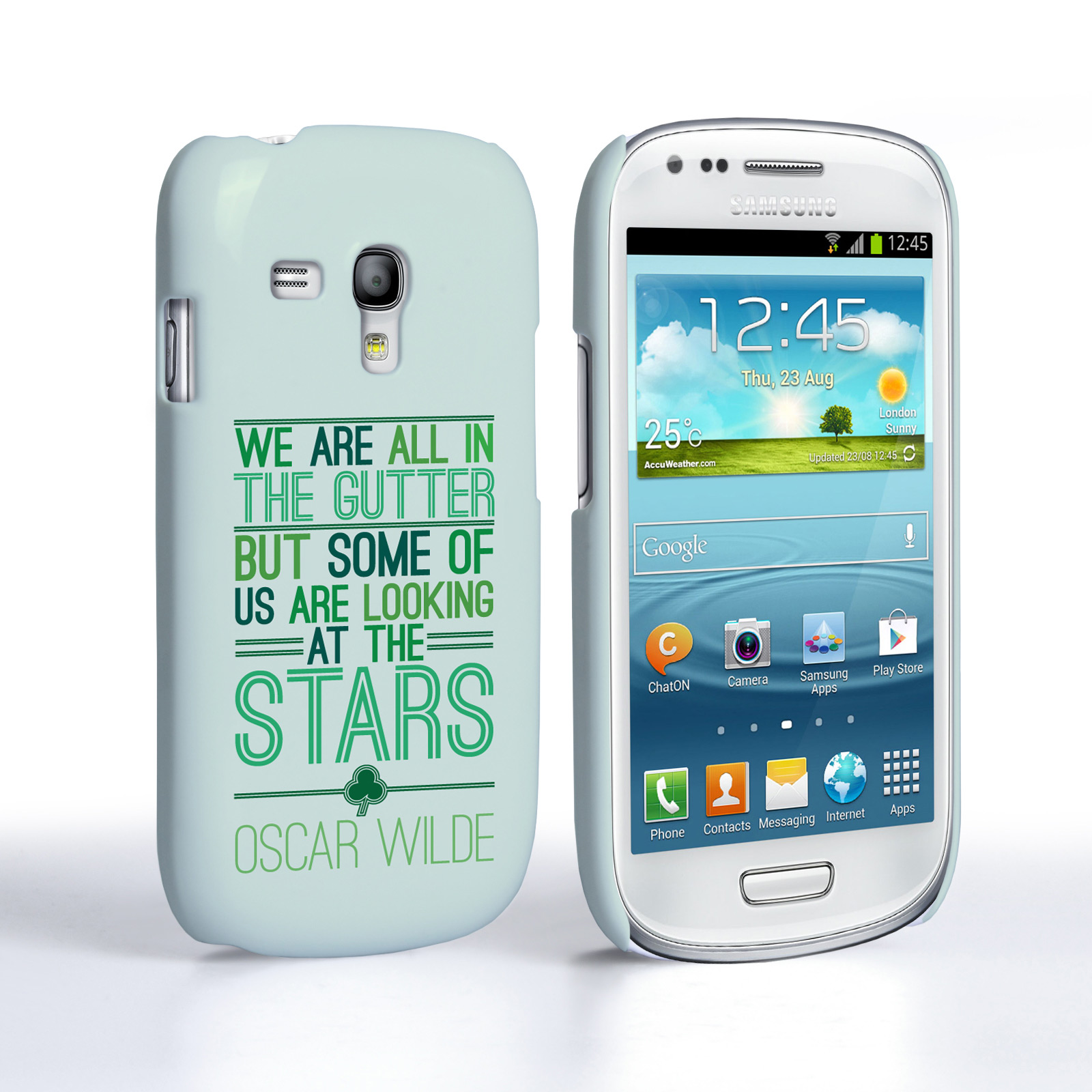 Caseflex Samsung Galaxy S3 Mini Wilde Stars Quote Hard Case – White and Green