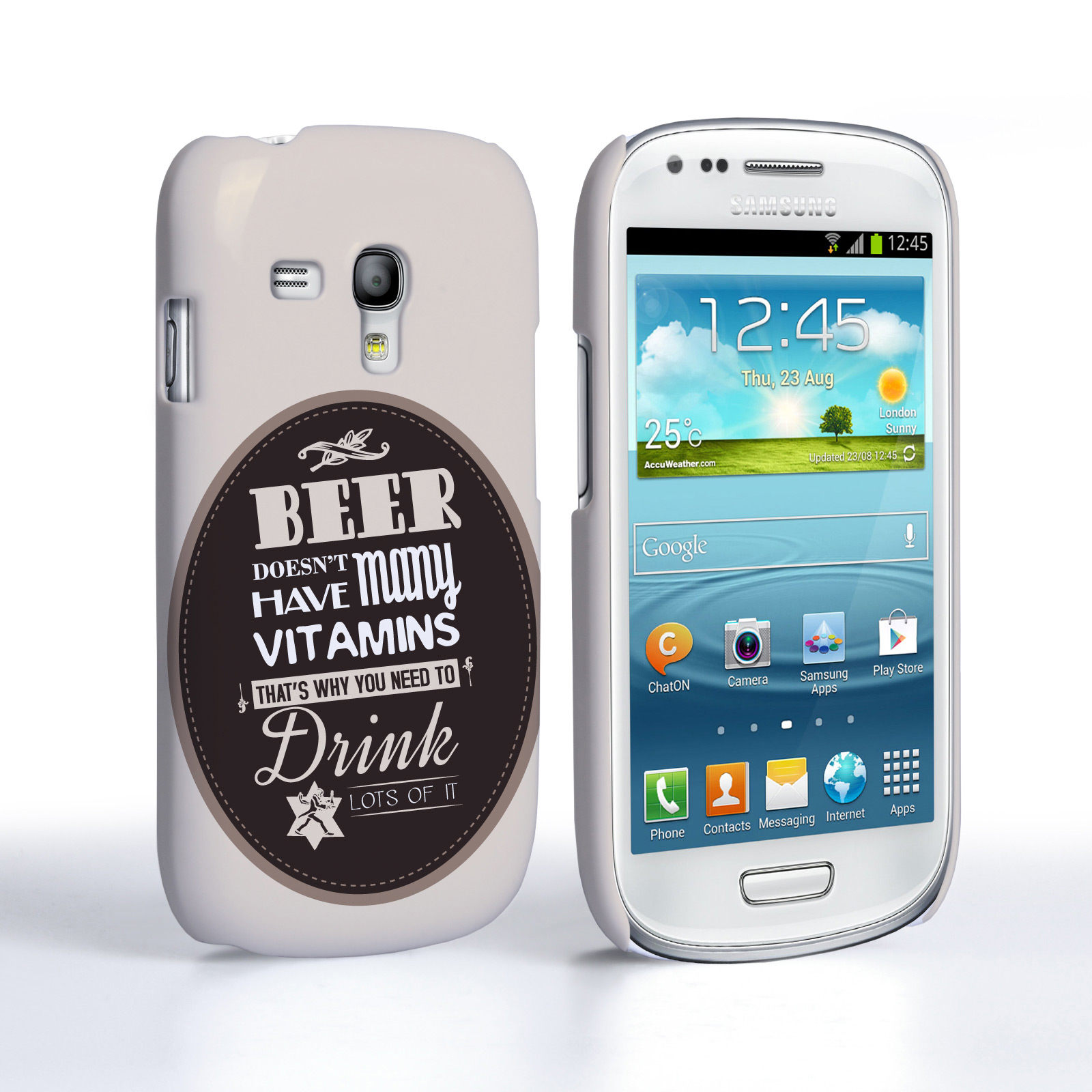 Caseflex Samsung Galaxy S3 Mini Beer Label Quote Hard Case – Brown