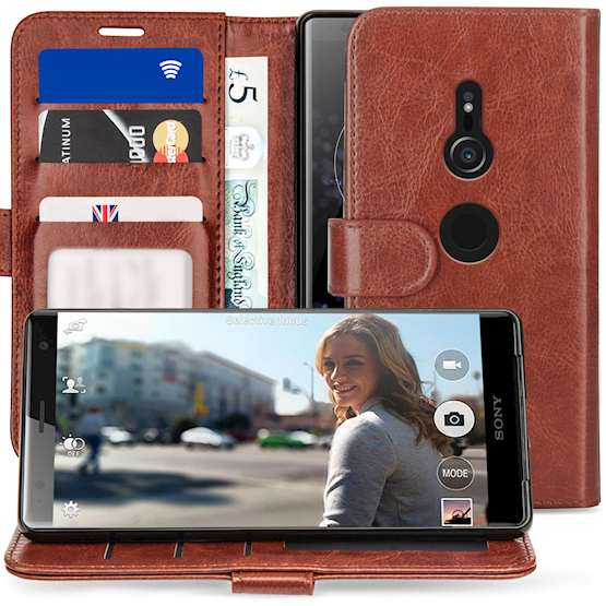 Sony Xperia XZ2 PU Leather ID Stand Wallet - Brown