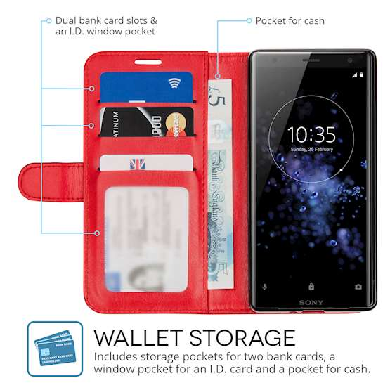 Sony Xperia XZ2 PU Leather ID Stand Wallet - Red
