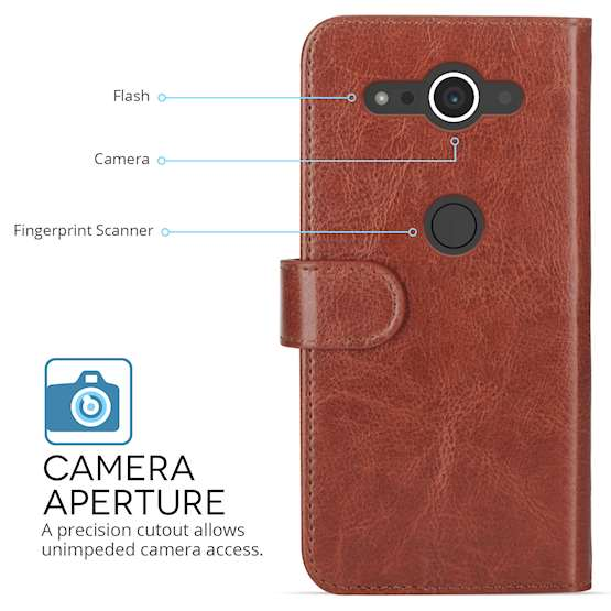 Sony Xperia XZ2 Compact PU Leather ID Stand Wallet - Brown