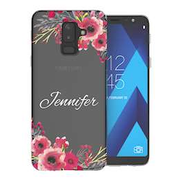 Samsung A6 Plus (2018) Clear Floral Personalised TPU Gel Case