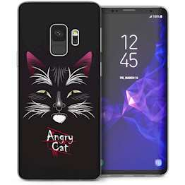 Samsung Galaxy S9 Angry Cat Cartoon TPU Gel Case – Black