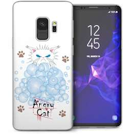 Samsung Galaxy S9 Angry Cat Bubbles Cartoon TPU Gel Case – White