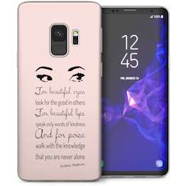 Samsung Galaxy S9 Audrey Hepburn Eyes Quote TPU Gel Case – White