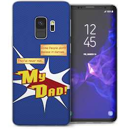 Samsung Galaxy S9 Dad Heroes Quote Cartoon TPU Gel Case – Blue