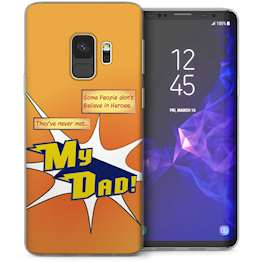 Samsung Galaxy S9 Dad Heroes Quote Cartoon TPU Gel Case – Orange