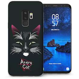 Samsung Galaxy S9 Plus Angry Cat Cartoon TPU Gel Case – Black