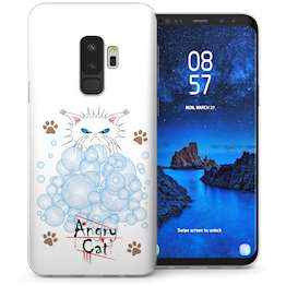 Samsung Galaxy S9 Plus Angry Cat Bubbles Cartoon TPU Gel Case – White
