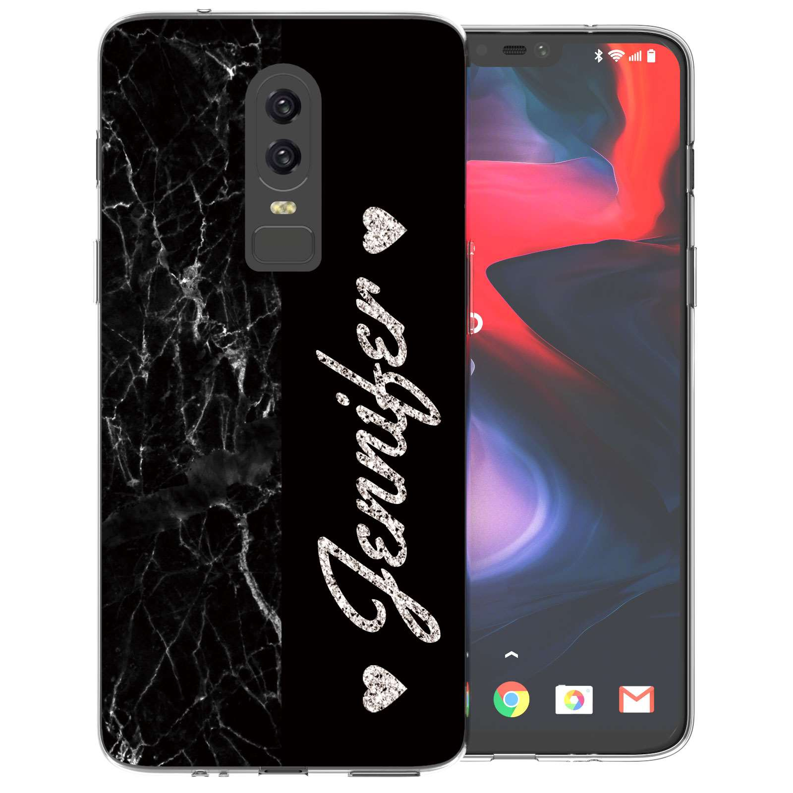separation shoes 5795e 8d926 OnePlus 6 Black Marble Personalised TPU Gel Case