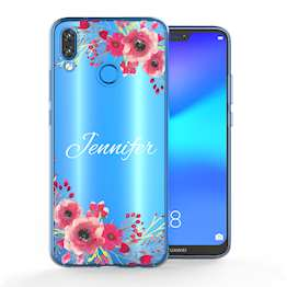 Huawei P20 Lite Clear Floral Personalised TPU Gel Case