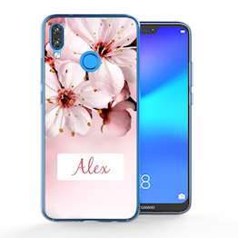 Huawei P20 Lite Light Pink Floral Personalised TPU Gel Case