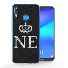 Huawei P20 Lite Black Crown Personalised TPU Gel Case