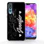 Huawei P20 Pro Black Marble Personalised TPU Gel Case