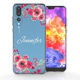 Huawei P20 Pro Clear Floral Personalised TPU Gel Case