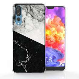 Huawei P20 Pro Black White Marble Slice TPU Gel Case