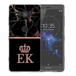 Sony Xperia XZ2 Compact Black & Pink Marble Personalised TPU Gel Case