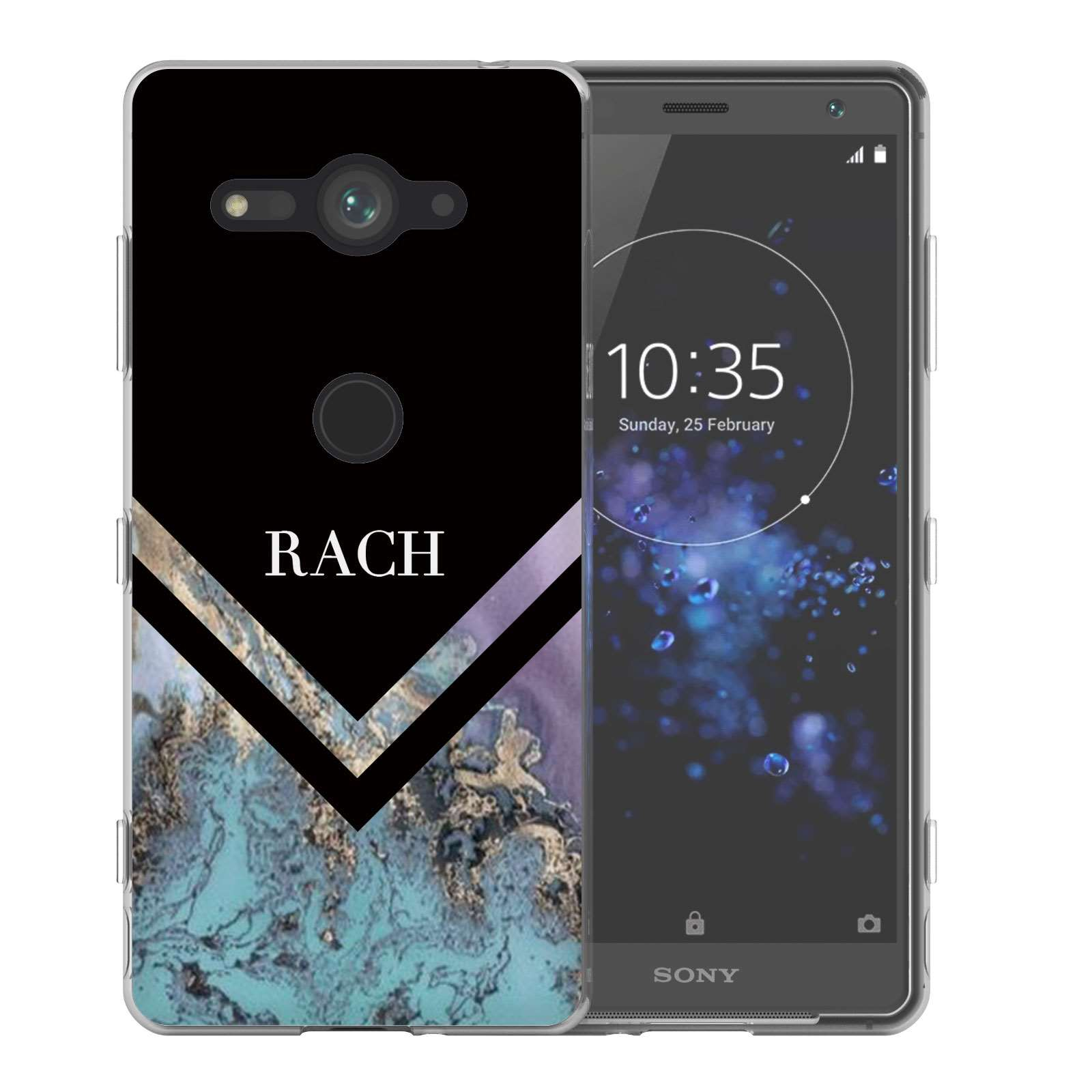 outlet store 6af04 3960f Sony Xperia XZ2 Compact Black Blue Arrow Personalised TPU Gel Case