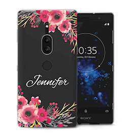 Sony Xperia XZ2 Premium Clear Floral Personalised TPU Gel Case