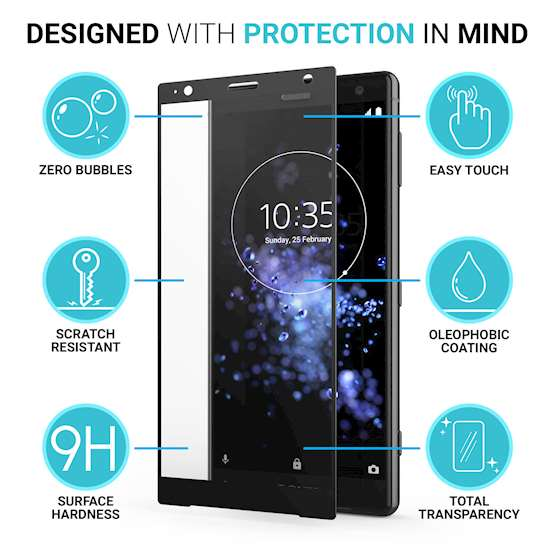 Sony Xperia XZ2 Tempered Glass (Single) - Black Edge