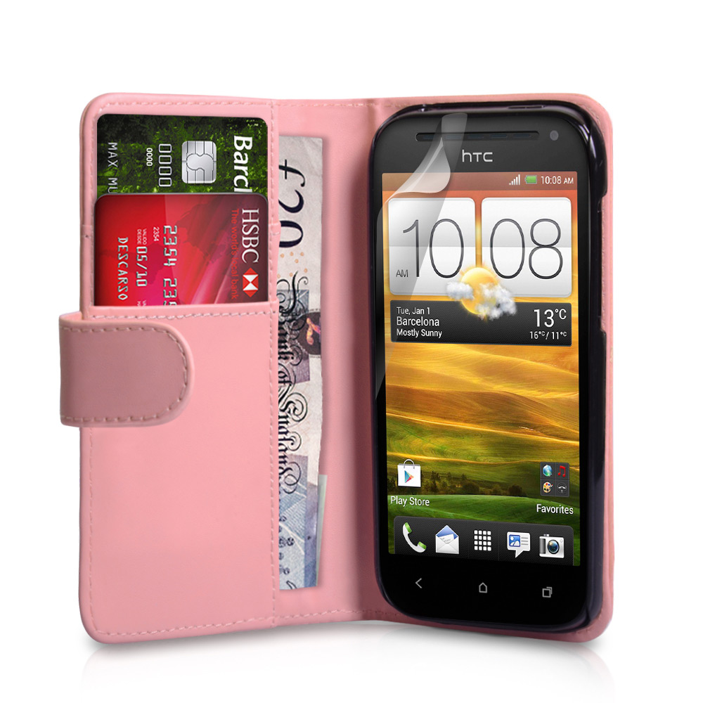 YouSave Accessories HTC One SV Leather Effect Wallet Case - Baby Pink