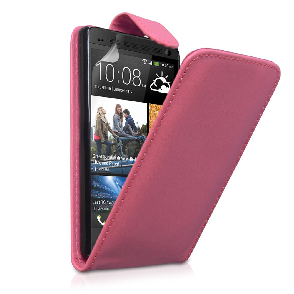 YouSave Accessories HTC One Leather Effect Flip Case - Hot Pink