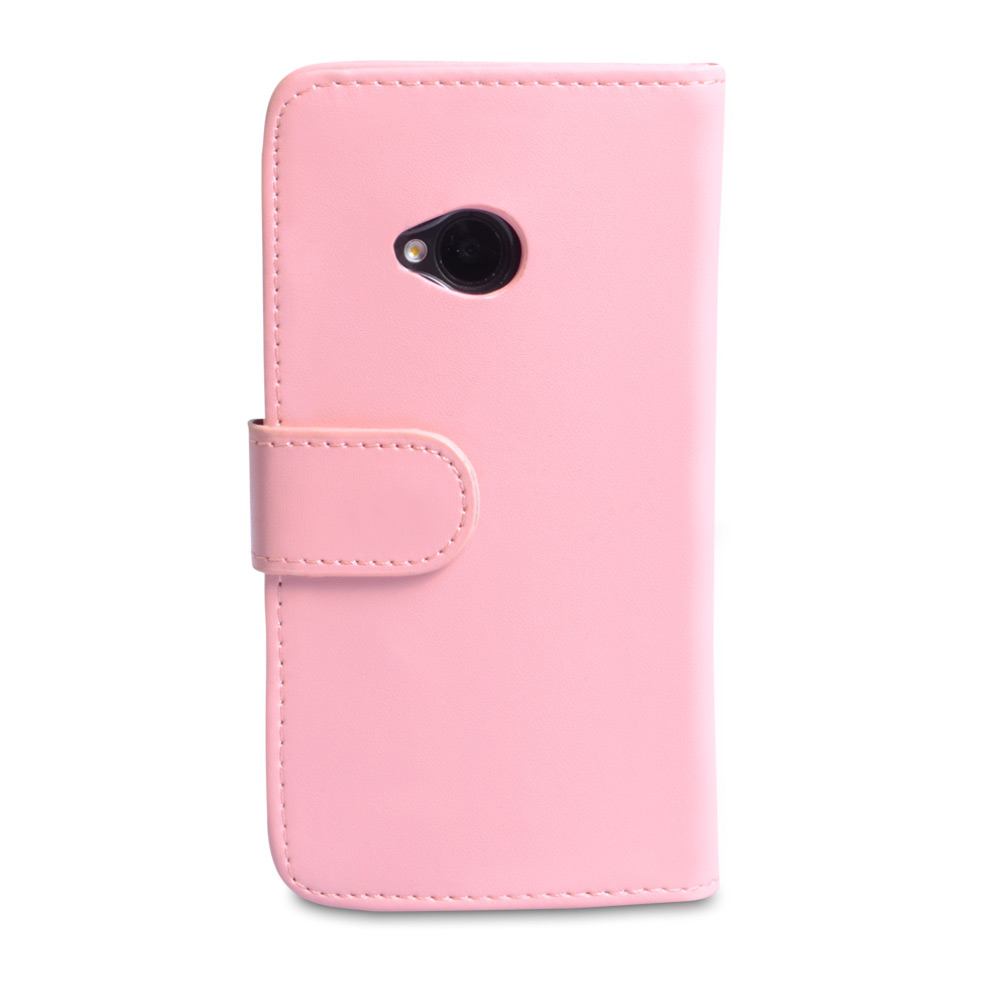 YouSave Accessories HTC One Leather Effect Wallet Case - Baby Pink
