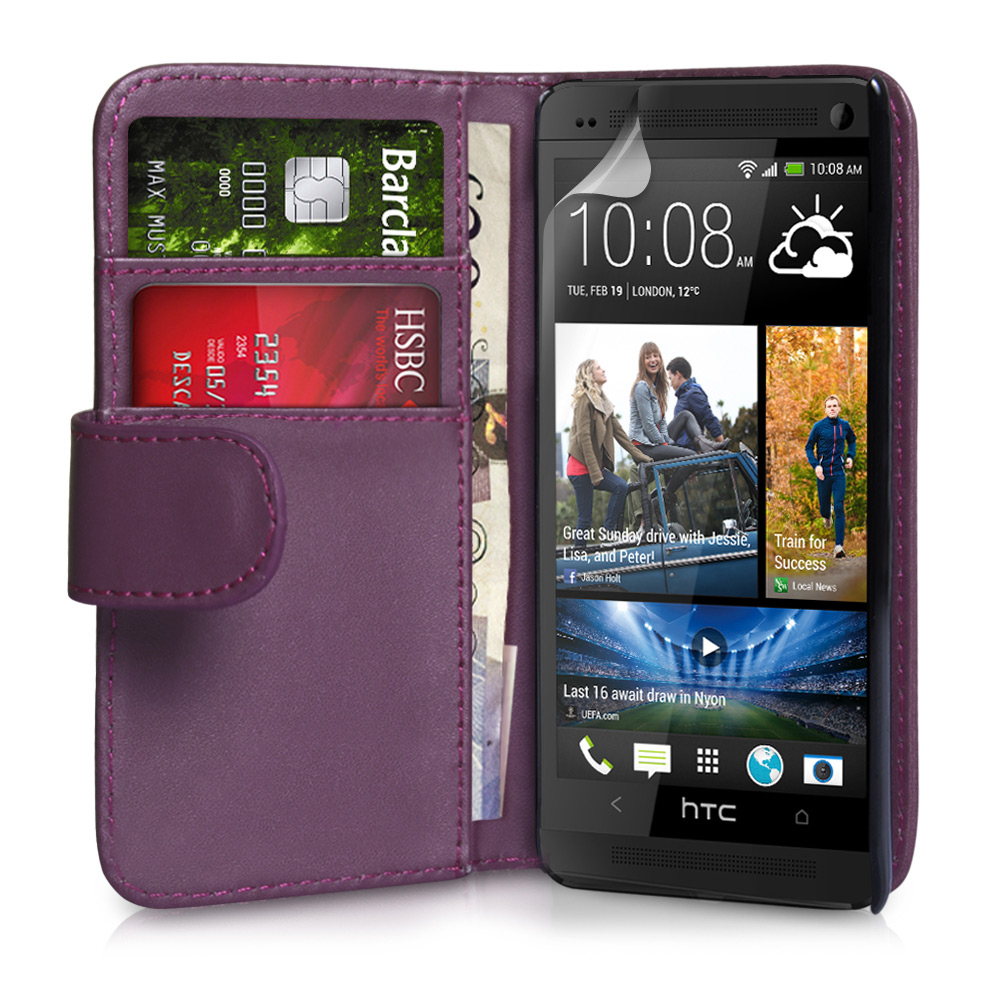 YouSave Accessories HTC One Leather Effect Wallet Case - Purple