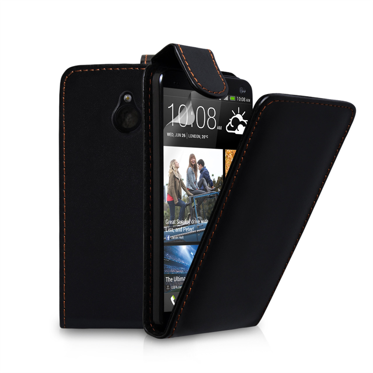 YouSave Accessories HTC ONE Mini Leather-Effect Flip Case - Black