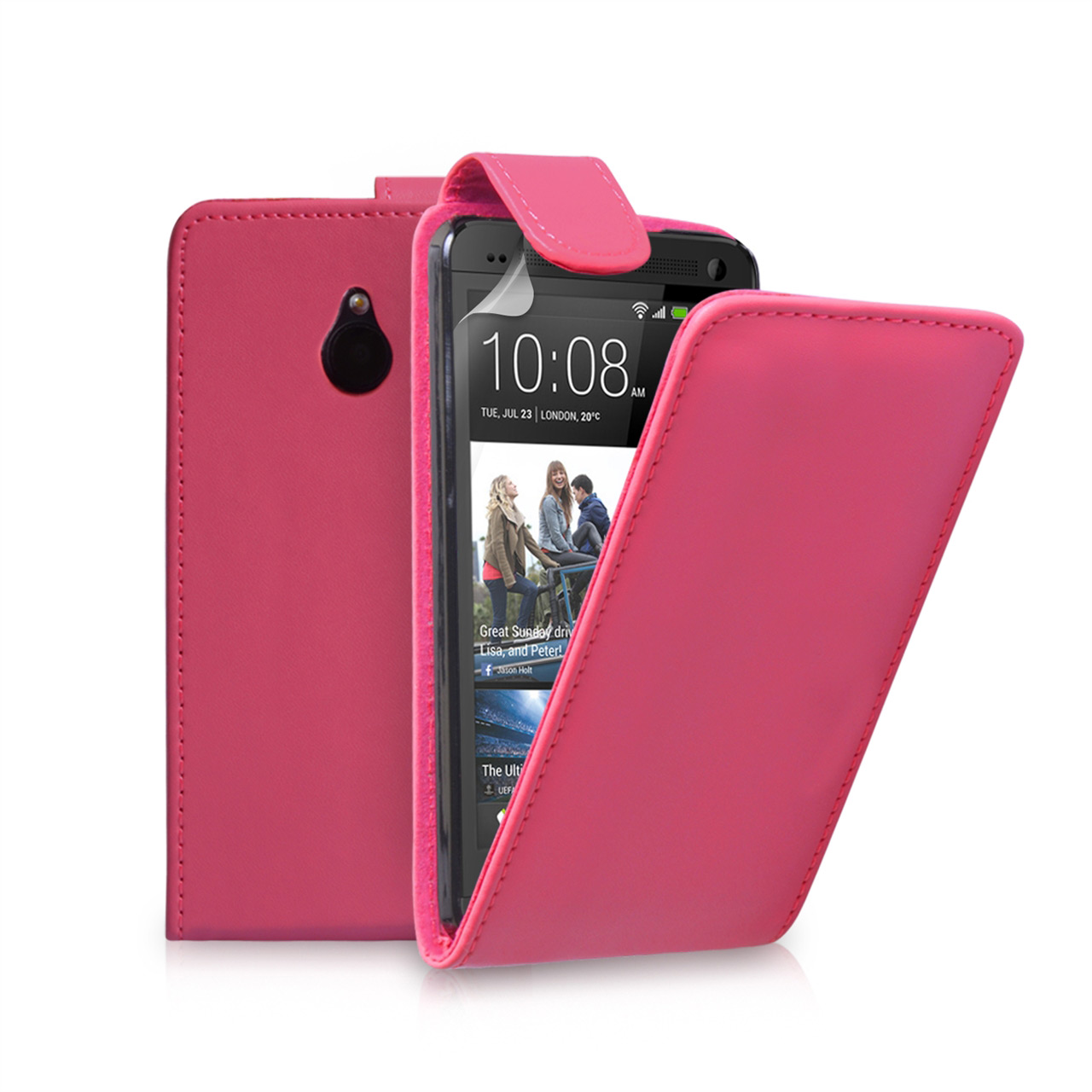 YouSave Accessories HTC ONE Mini Leather-Effect Flip Case - Hot Pink