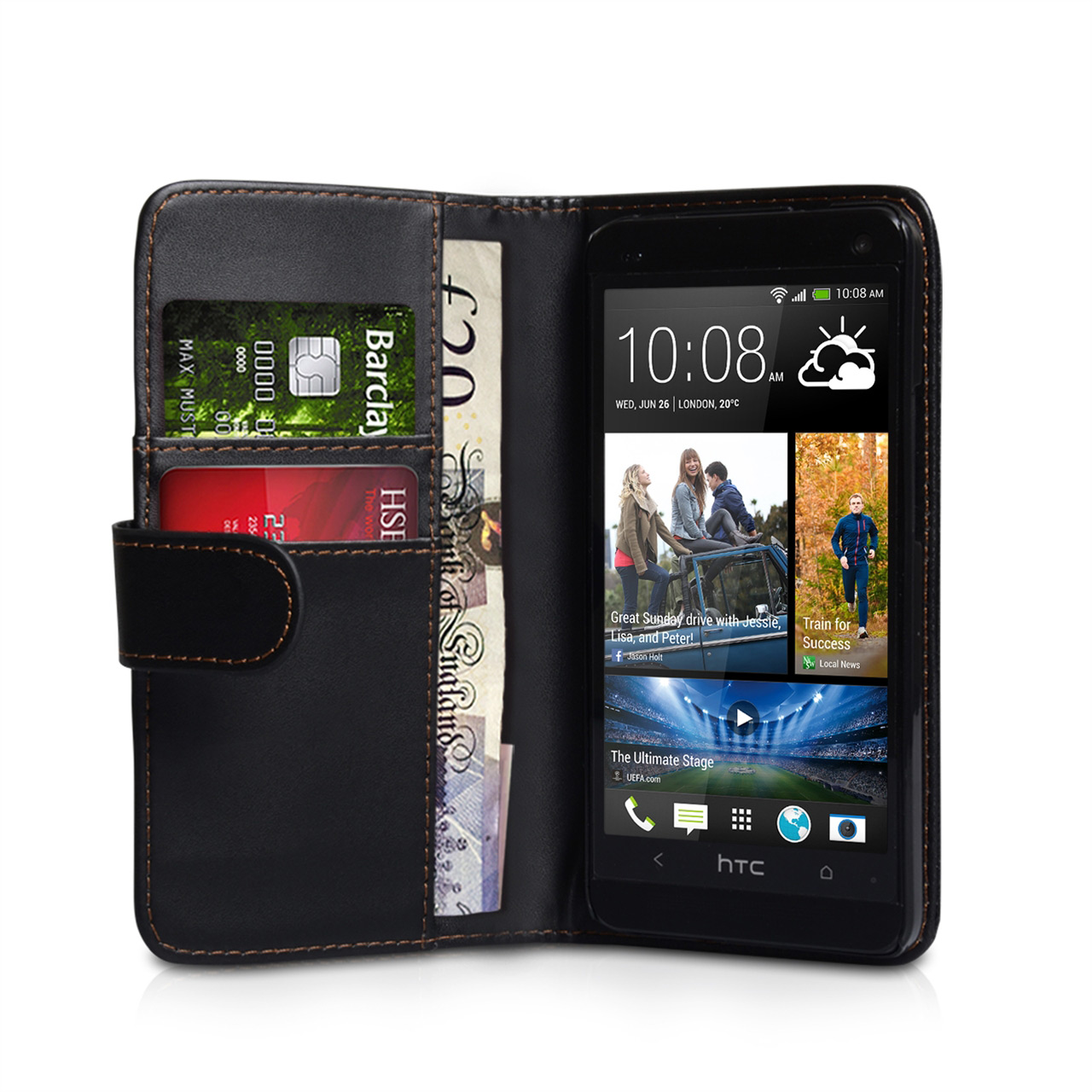 YouSave Accessories HTC ONE Mini Leather-Effect Wallet Case - Black