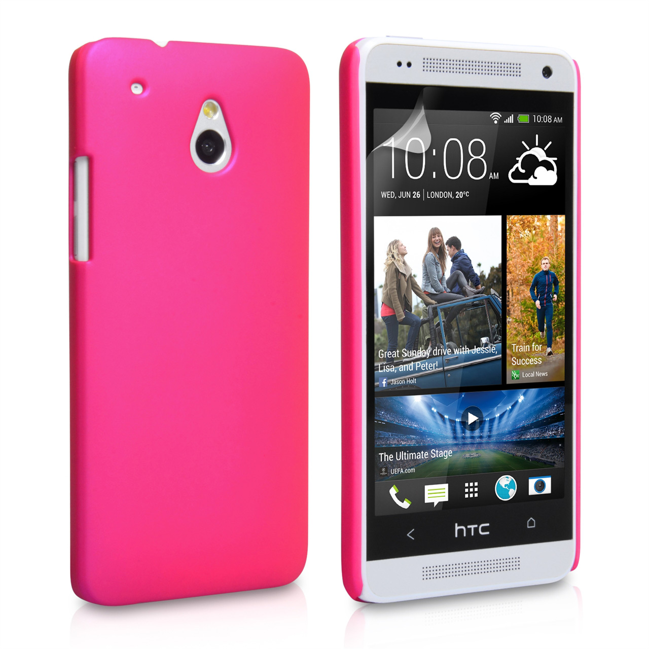 YouSave Accessories HTC ONE Mini Hard Hybrid Case - Hot Pink