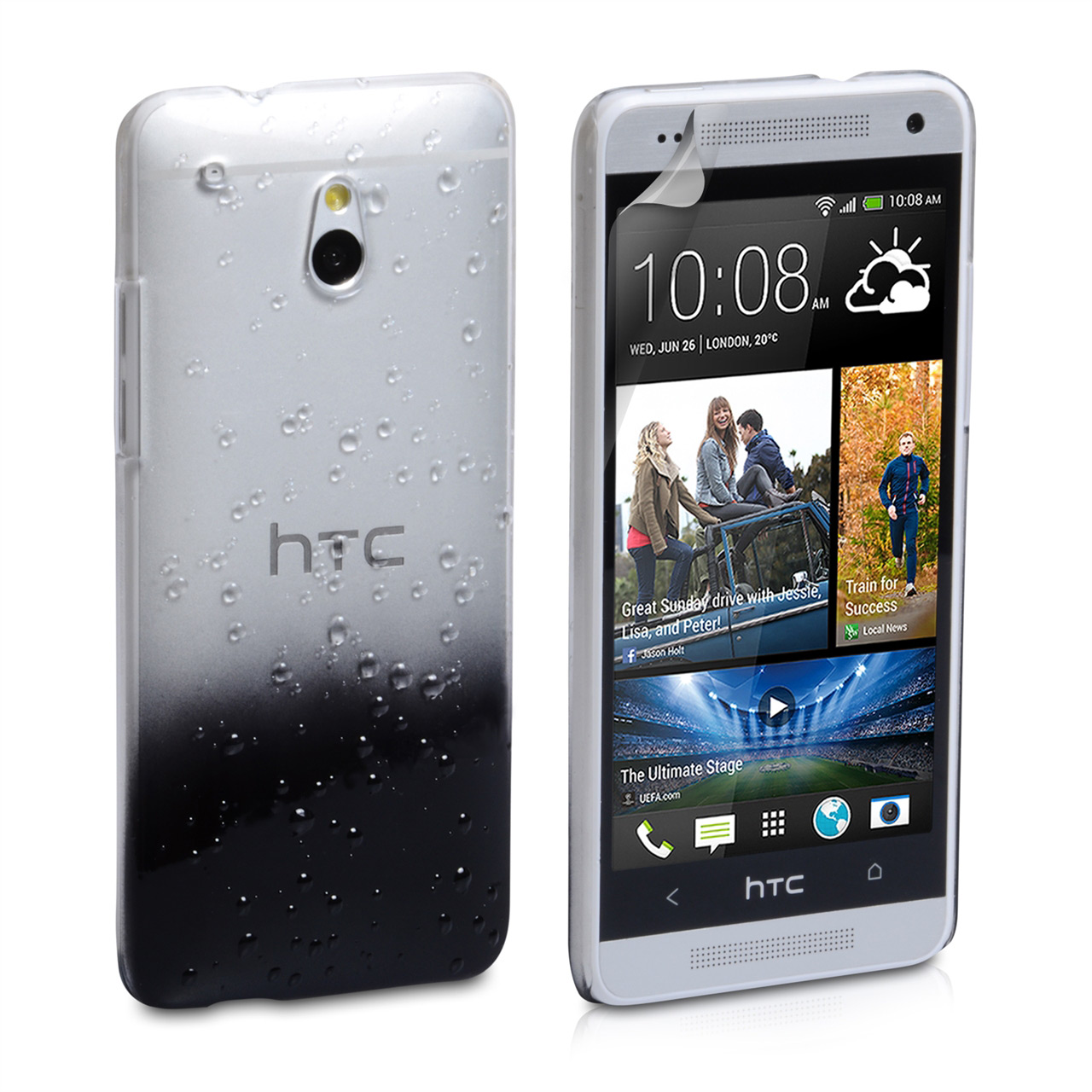 YouSave Accessories HTC One Mini Black Raindrop Hard Case