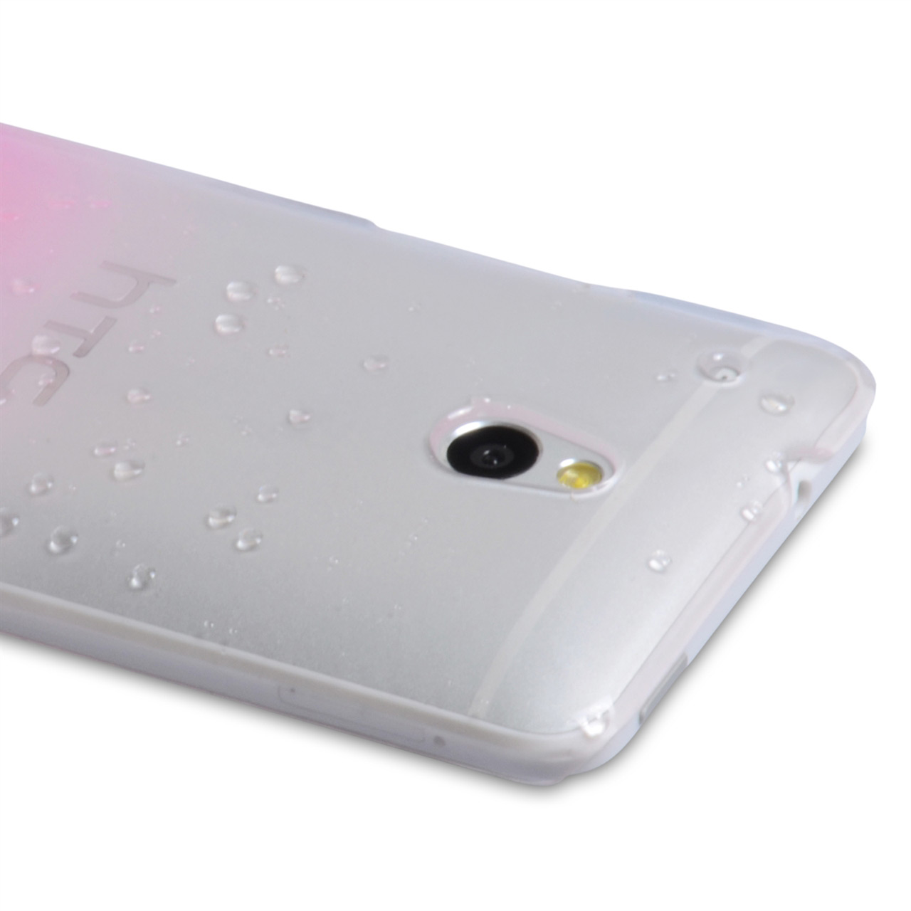 YouSave Accessories HTC ONE Mini Raindrop Hard Case - Baby Pink-Clear