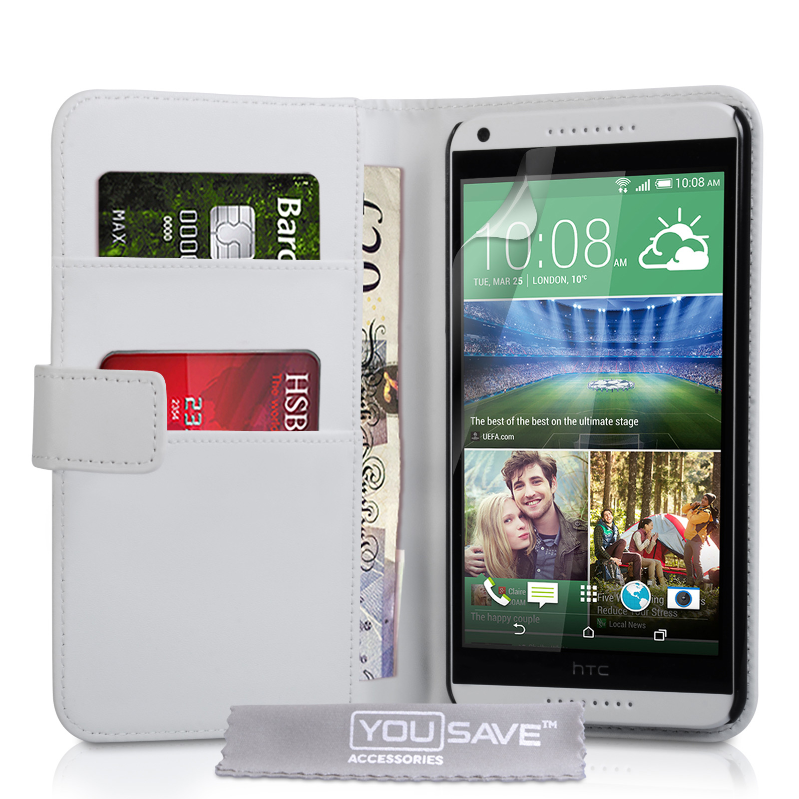 YouSave Accessories HTC Desire 816 Leather-Effect Wallet Case - White
