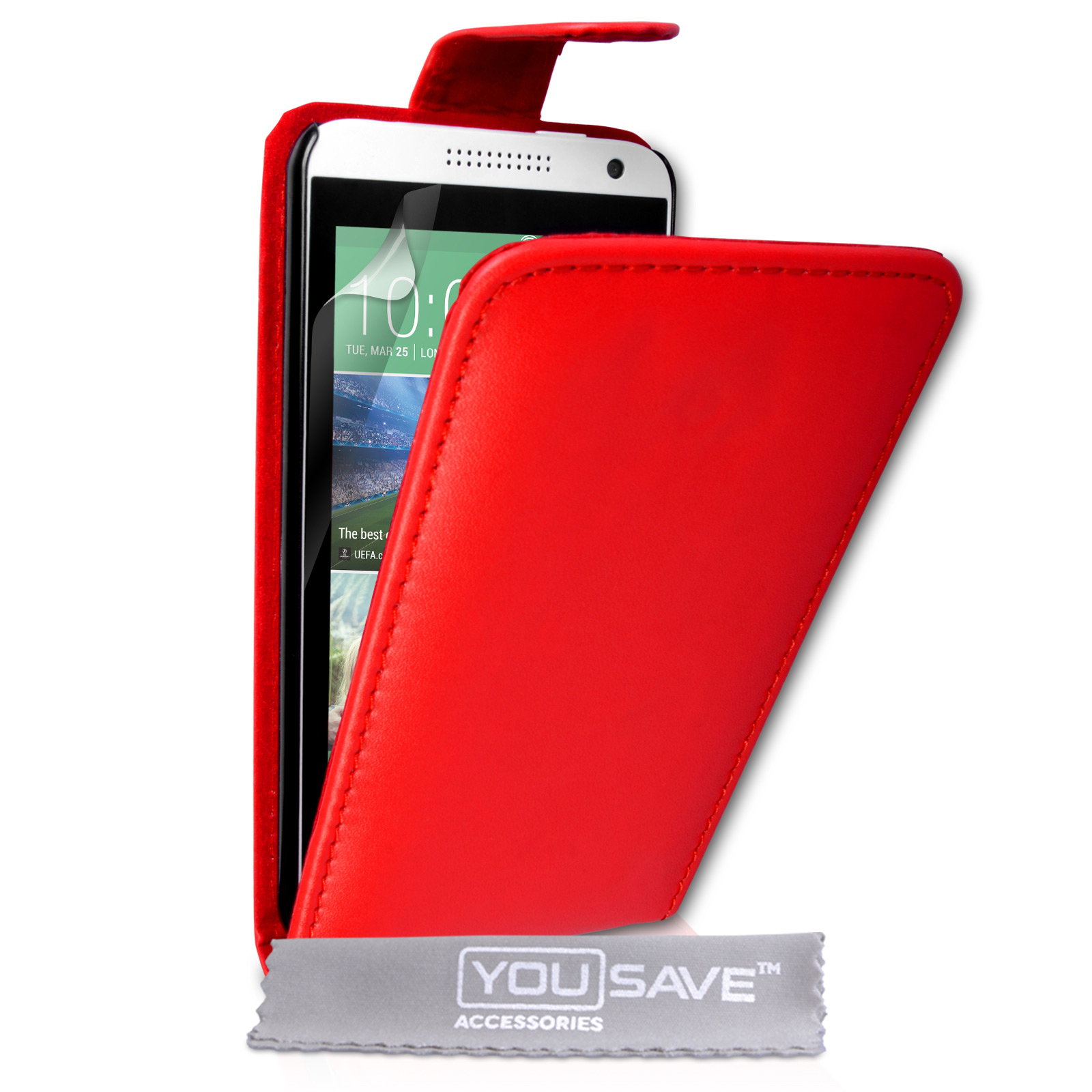 YouSave Accessories HTC Desire 610 Leather-Effect Flip Case - Red