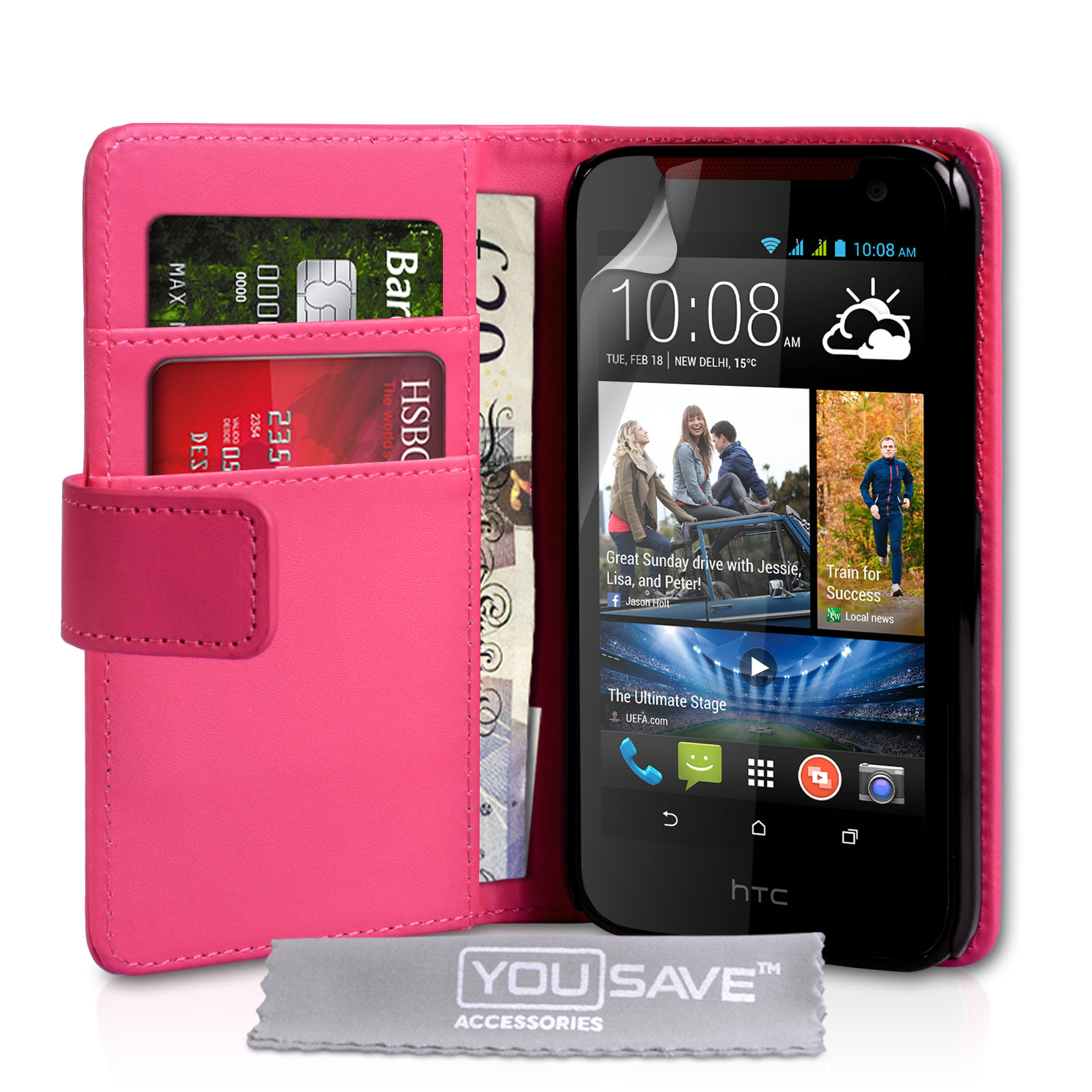 YouSave HTC Desire 310 Leather-Effect Wallet Case - Hot Pink