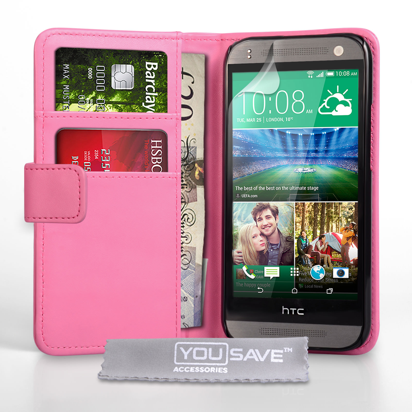 YouSave HTC One Mini 2 Leather-Effect Wallet Case - Hot Pink
