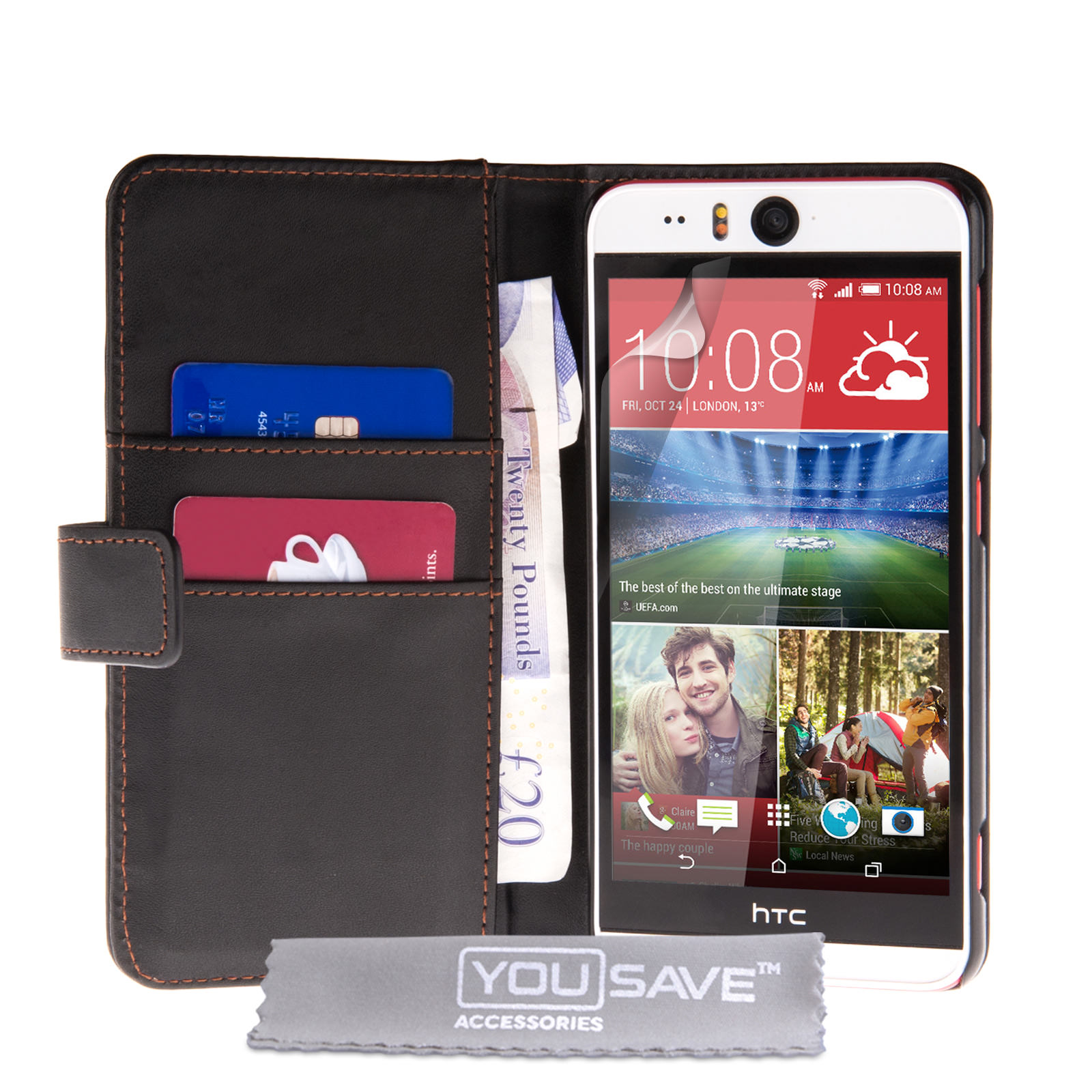 YouSave Accessories HTC Desire EYE Leather-Effect Wallet Case - Black