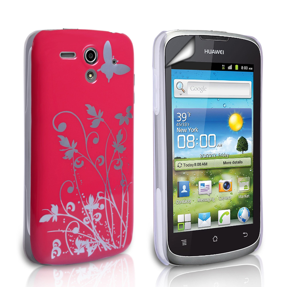 YouSave Huawei Ascend G300 Hot Pink Butterfly IMD Hard Case