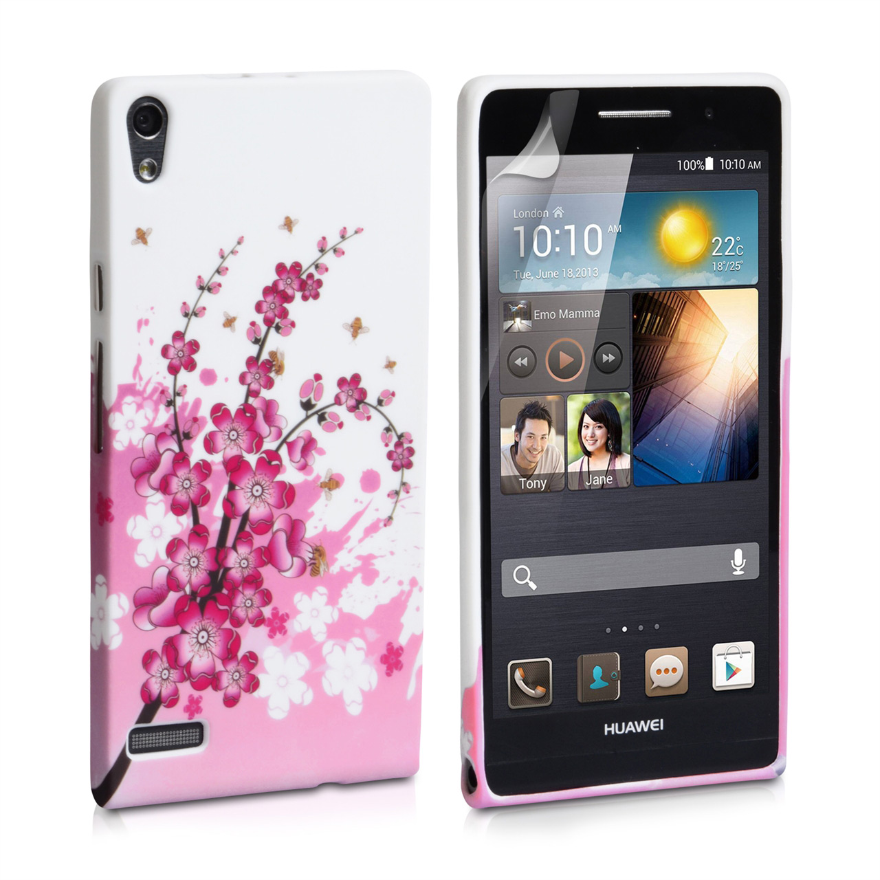 YouSave Accessories Huawei Ascend P6 Floral Bee Silicone Gel Case