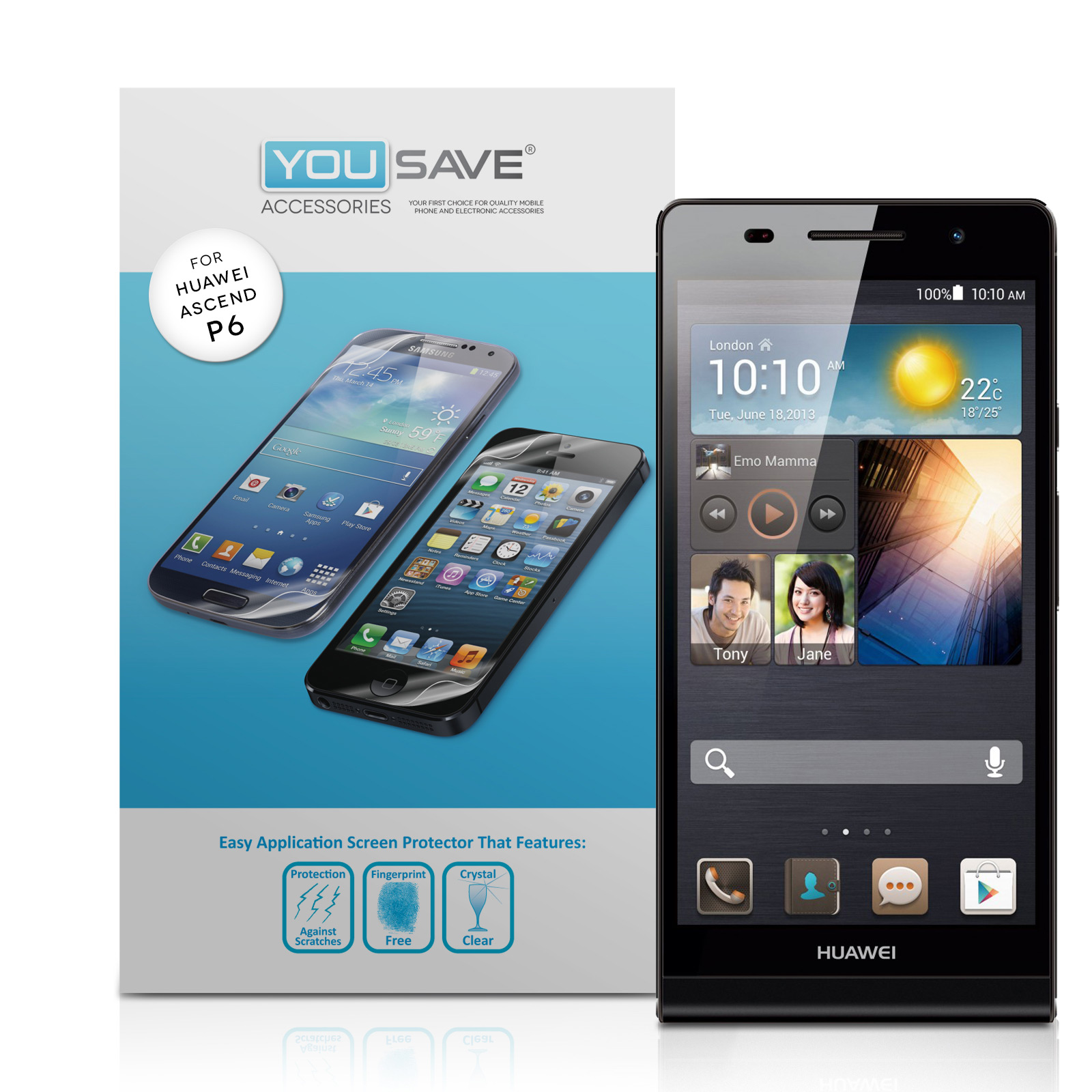 YouSave Accessories Huawei Ascend P6 Screen Protectors x5