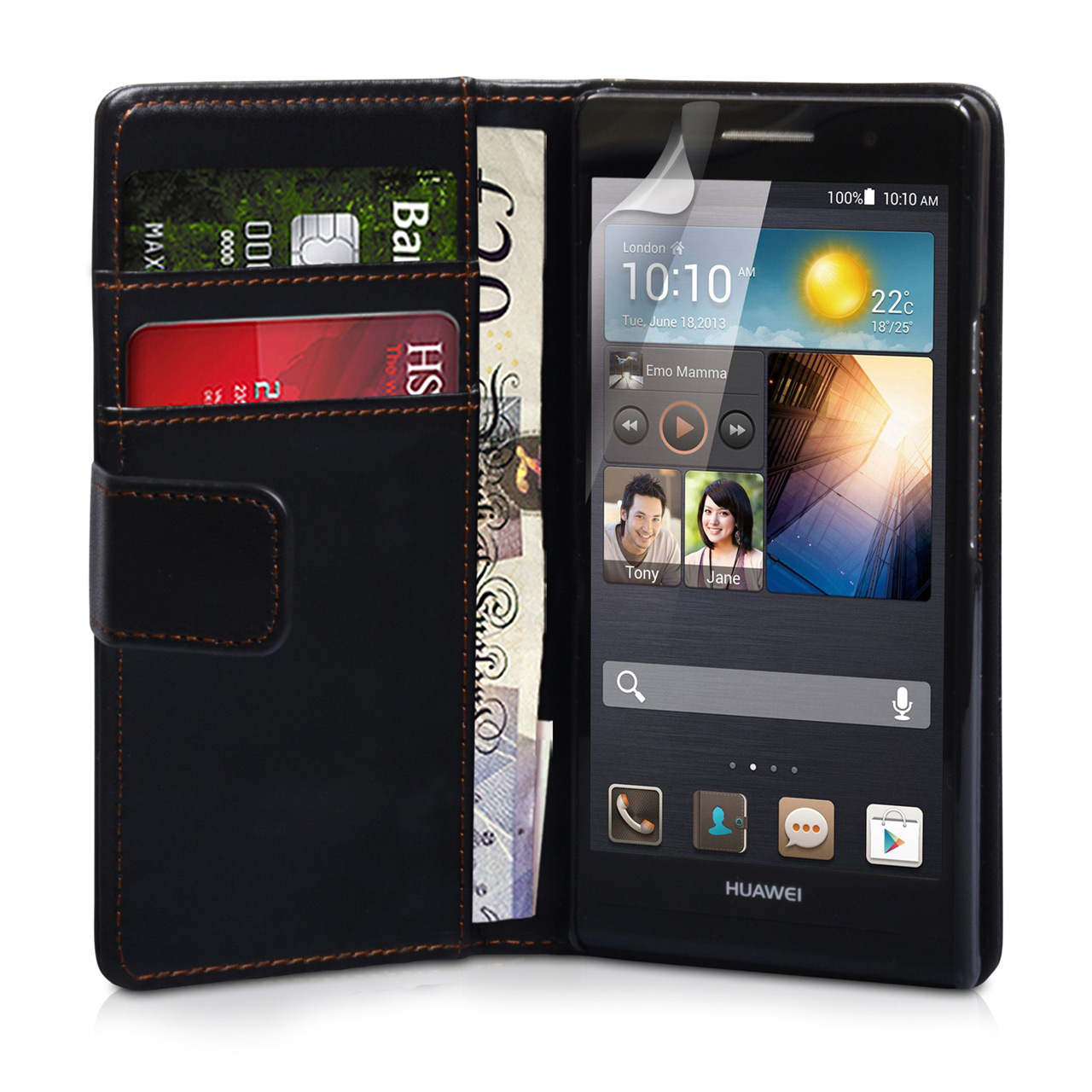 YouSave Accessories Huawei Ascend P6 Black Leather Effect Wallet Case