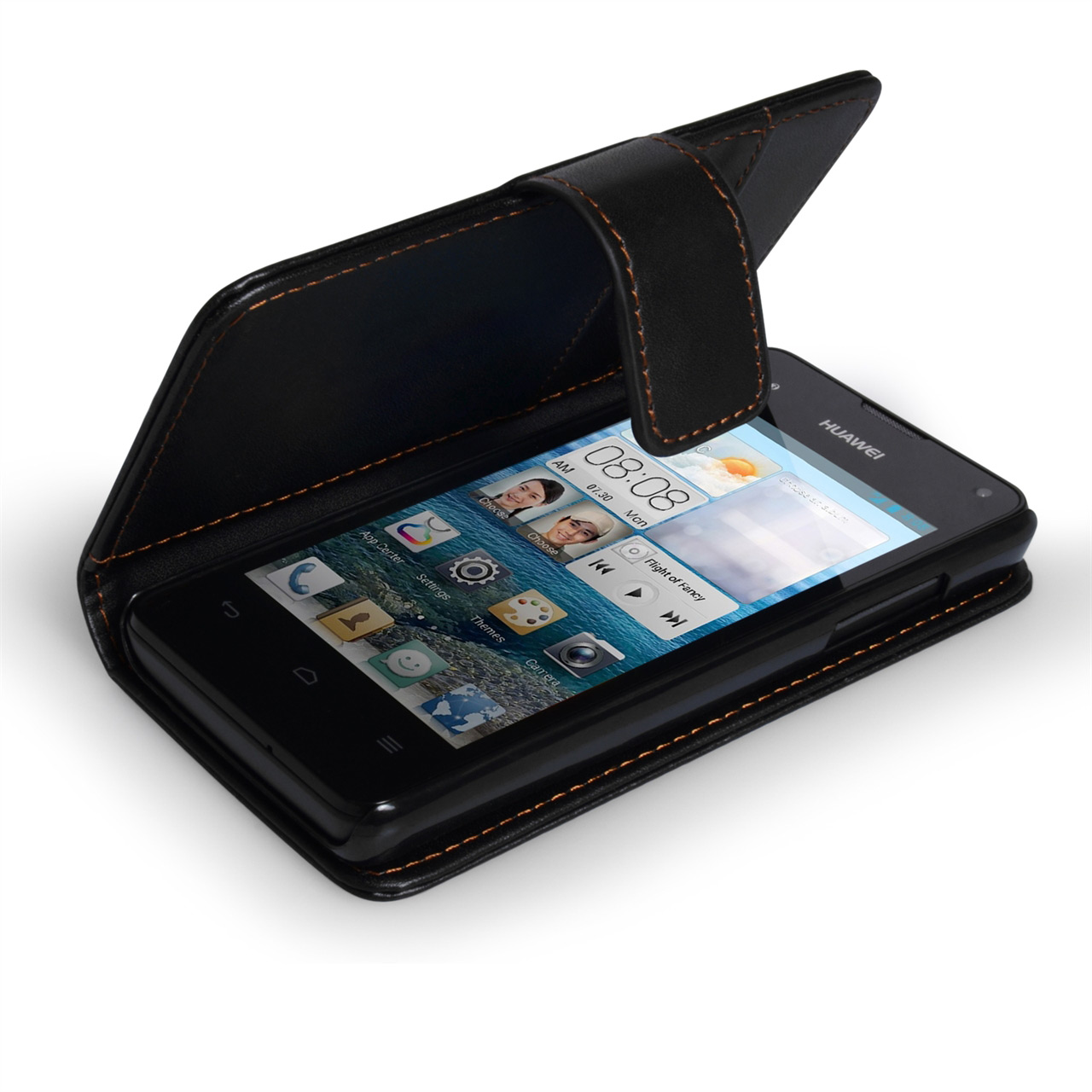 YouSave Huawei Ascend Y300 Leather Effect Wallet Case - Black