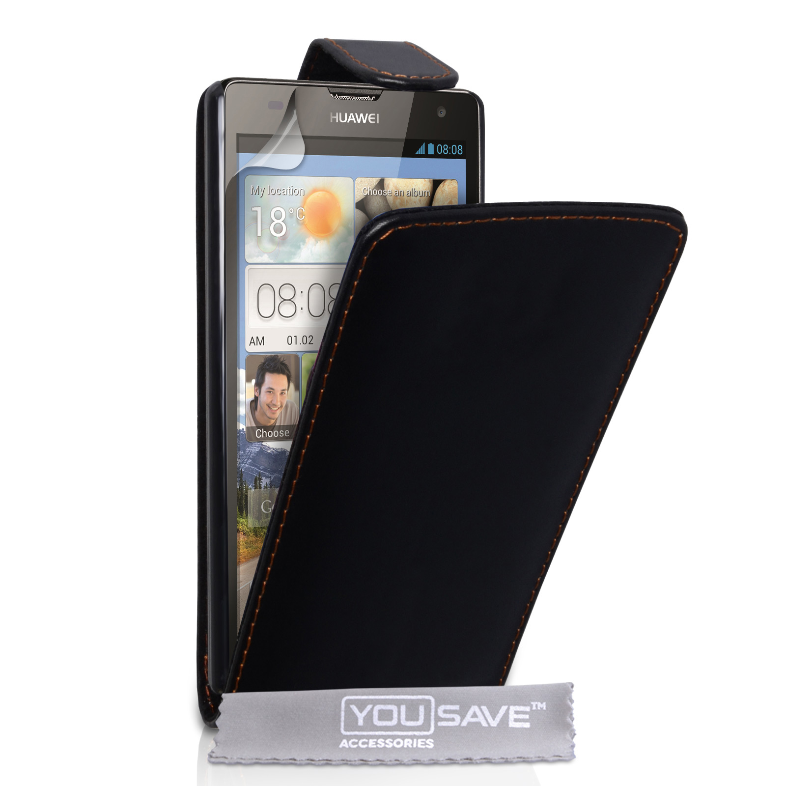 YouSave Huawei Ascend G740 Leather-Effect Flip Case - Black