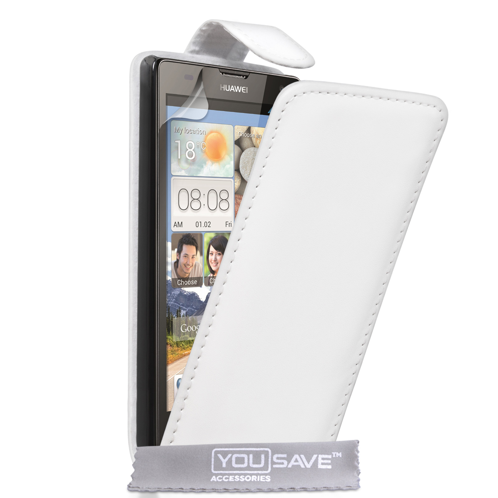 YouSave Huawei Ascend G740 Leather-Effect Flip Case - White