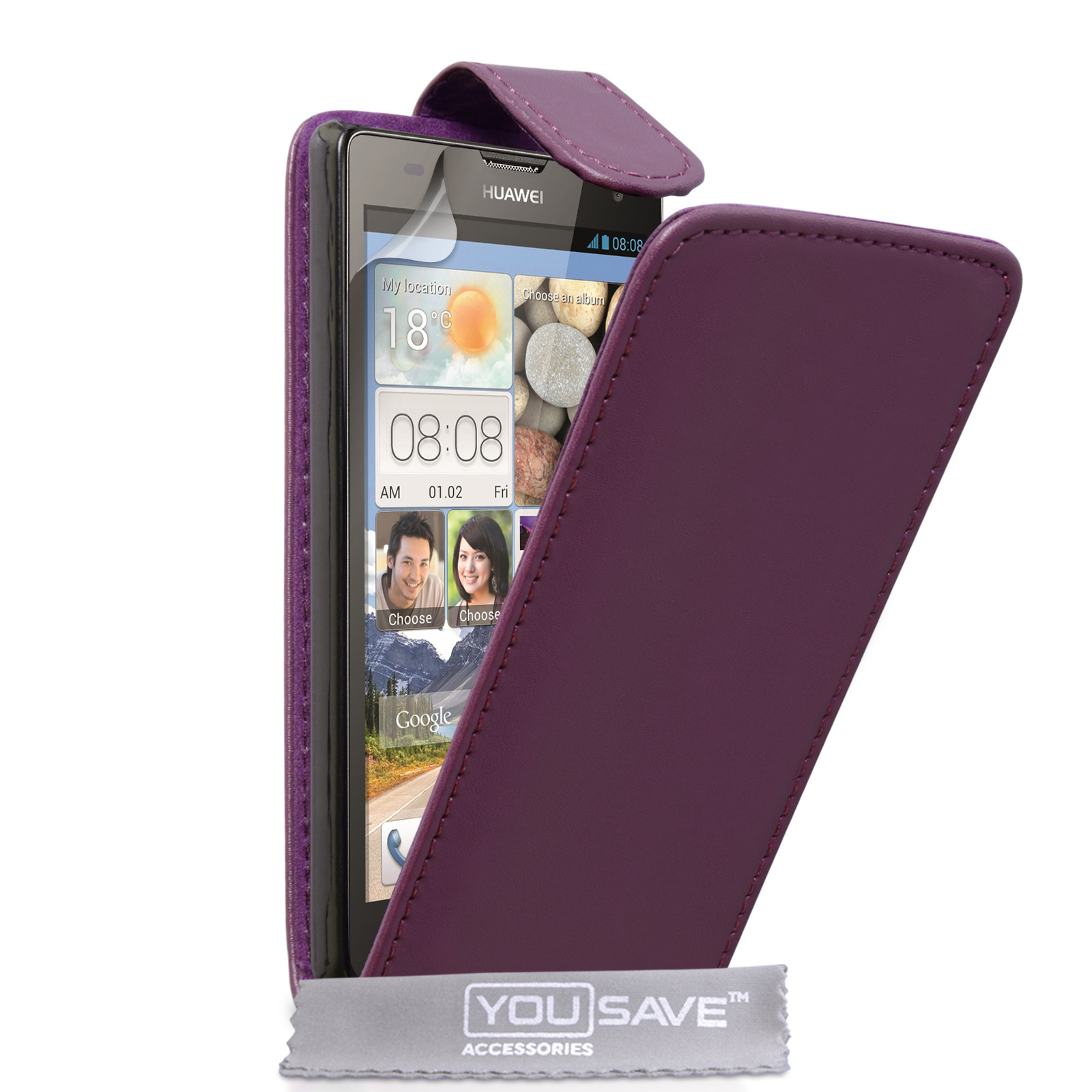 YouSave Huawei Ascend G740 Leather-Effect Flip Case - Purple
